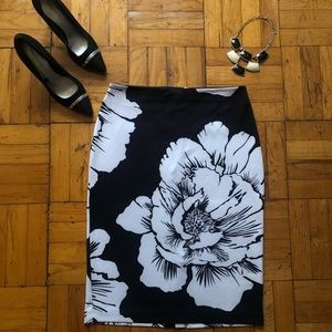 New York And Company | Black Floral Midi Skirt